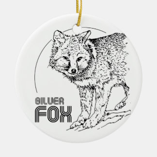 SILVER FOX VINTAGE ROUND CERAMIC DECORATION