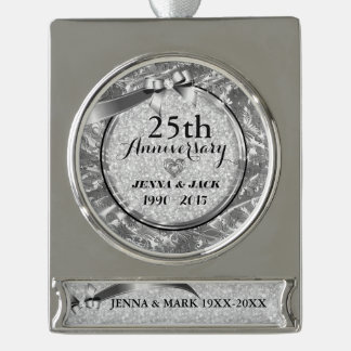 Silver Frame & Hearths 25th Wedding Anniversary Silver Plated Banner Ornament