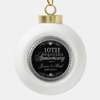 Silver Frame & Hearts 10th Wedding Anniversary Ceramic Ball Decoration