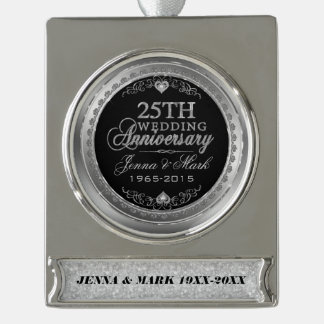 Silver Frame & Hearts 25th Wedding Anniversary Silver Plated Banner Ornament