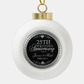 Silver Frame & Hearts 25th Wedding Anniversary Ornament