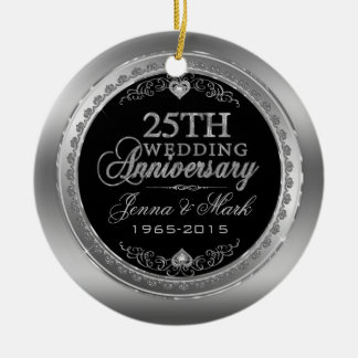 Silver Frame & Hearts 25th Wedding Anniversary Round Ceramic Decoration