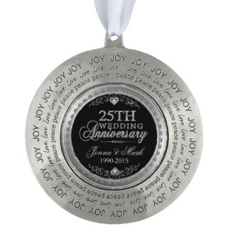 Silver Frame & Hearts 25th Wedding Anniversary Round Pewter Ornament