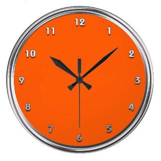 Silver Frame Orange Wall Clocks