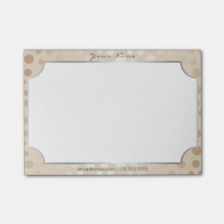 Silver Frame Pearly Cream Ivory Delicate Dots Post-it® Notes