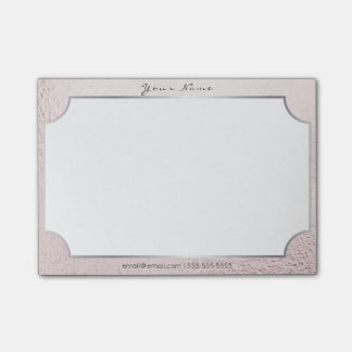Silver Frame Pink Powder Rose Glass White Vip Post-it® Notes