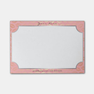 Silver Frame Pink Powder Rose Gold Brush Kiss Post-it® Notes