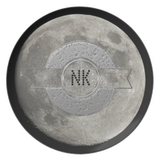Silver Full Moon with Metallic Grunge Badge Crater Plates