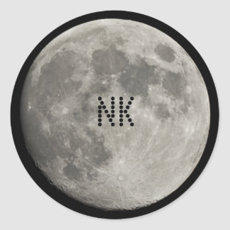Silver Full Moon with Metallic Grunge Badge Crater Round Sticker