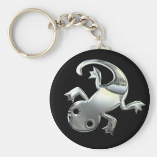 Silver Gecko Basic Round Button Key Ring