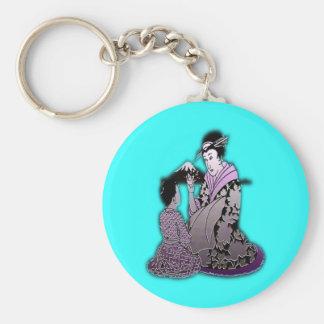 Silver Geisha Key Chain