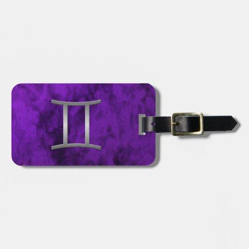 silver gemini - purple bag tag