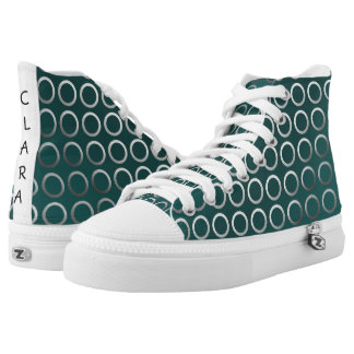silver geometric circles pattern | turquoise green high tops