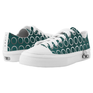 silver geometric circles pattern | turquoise green low tops