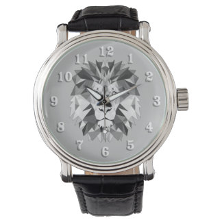 Silver Geometric Lion Head Watch