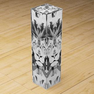 Silver Geometric Lion Wine Gift Box