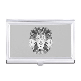 Silver Geometric Lions Head Business Card Holder