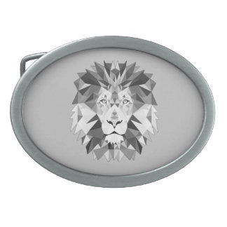 Silver Geometric Lions Head Oval Belt Buckles