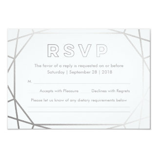 Silver Geometric | Winter Wedding RSVP Card