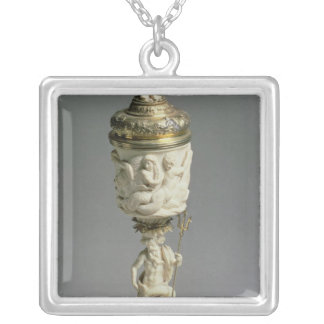 Silver gilt and carved ivory goblet silver plated necklace