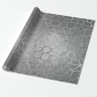 Silver Giraffe Animal Skin Glam Vip Wrapping Paper