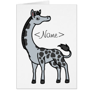 Silver Giraffe with Black Spots Greeting Card