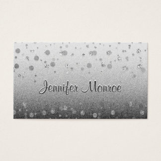 Silver Glam Confetti Sparkles Business Card