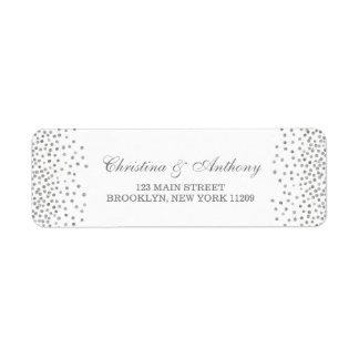 Silver Glam Wedding Confetti Return Address Labels