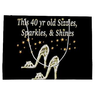 SILVER GLAMOROUS 40TH BIRTHDAY DESIGN LARGE GIFT BAG