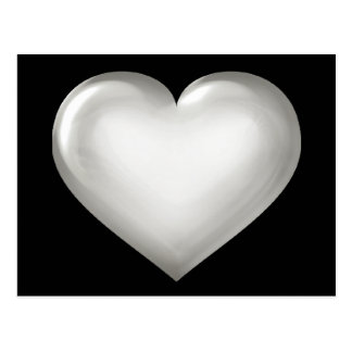 Silver glass heart postcard