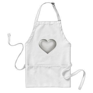 Silver glass heart standard apron