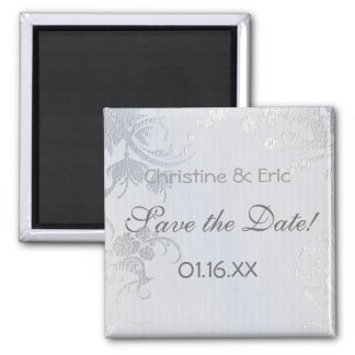 Silver Glimmer Save the Date Fridge Magnets