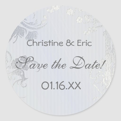 Silver Glimmer Save the Date Round Stickers