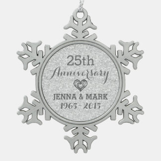 Silver Glitter 25th Wedding Anniversary Ornament