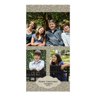 Silver Glitter Adjustable 3 Photo Christmas Card Picture Card