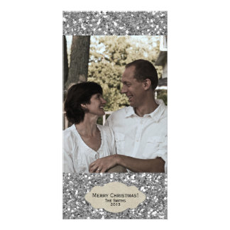 Silver Glitter Adjustable Photo Christmas Card Personalized Photo Card
