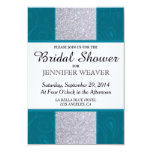 Silver Glitter and Aqua Teal with Swirly Design 9 Cm X 13 Cm Invitation Card
