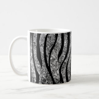 Silver Glitter and Black Zebra Stripes Coffee Mug