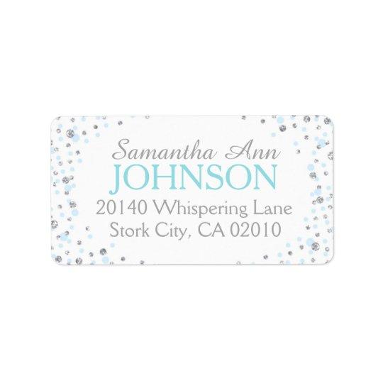 Silver Glitter and Blue Dot Sprinkles Address Label