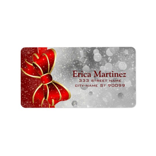Silver Glitter And Red Christmas Sparkles Bow Label