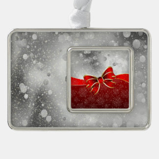 Silver Glitter And Red Christmas Sparkles Bow Silver Plated Framed Ornament