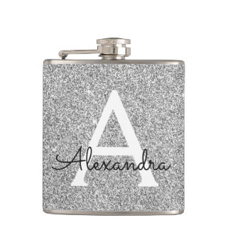 Silver Glitter and Sparkle Monogram Initial Hip Flask