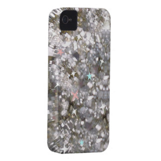 Silver glitter and stars phone 4 barely case