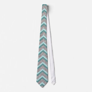 Silver Glitter and Teal ZigZag Tie