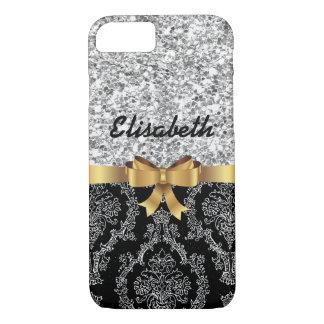 SILVER GLITTER  BLACK DAMASK  GOLDEN BOW MONOGRAM iPhone 7 CASE