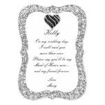 Silver Glitter Black Heart Maid Of Honour Card 13 Cm X 18 Cm Invitation Card