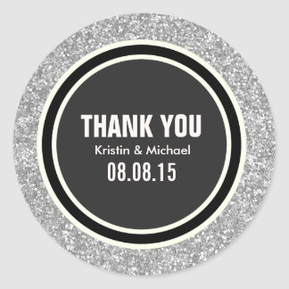 Silver Glitter & Black Thank You Round Stickers