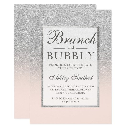 Silver glitter blush brunch bubbly bridal shower card