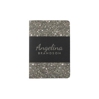 Silver Glitter Border Modern Black Passport Holder