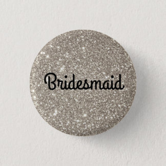 Silver Glitter Bridesmaid 3 Cm Round Badge